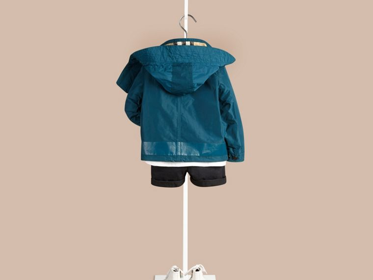 Bright teal Lightweight Technical Jacket with Detachable Hood - cell image 1