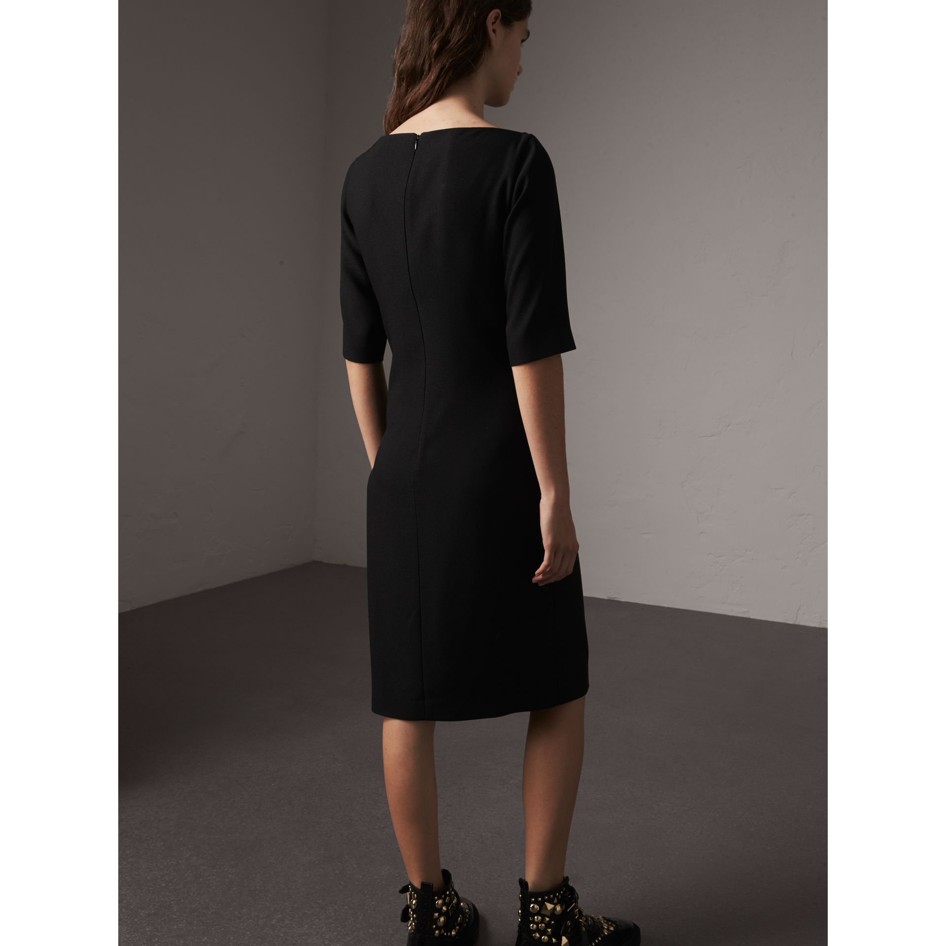 Belted Crepe Shift Dress in Black - Women | Burberry - gallery image 3