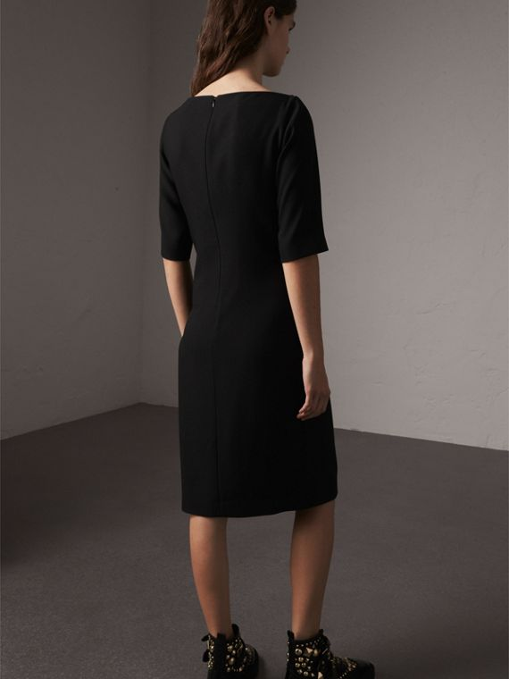 Belted Crepe Shift Dress in Black - Women | Burberry - cell image 2
