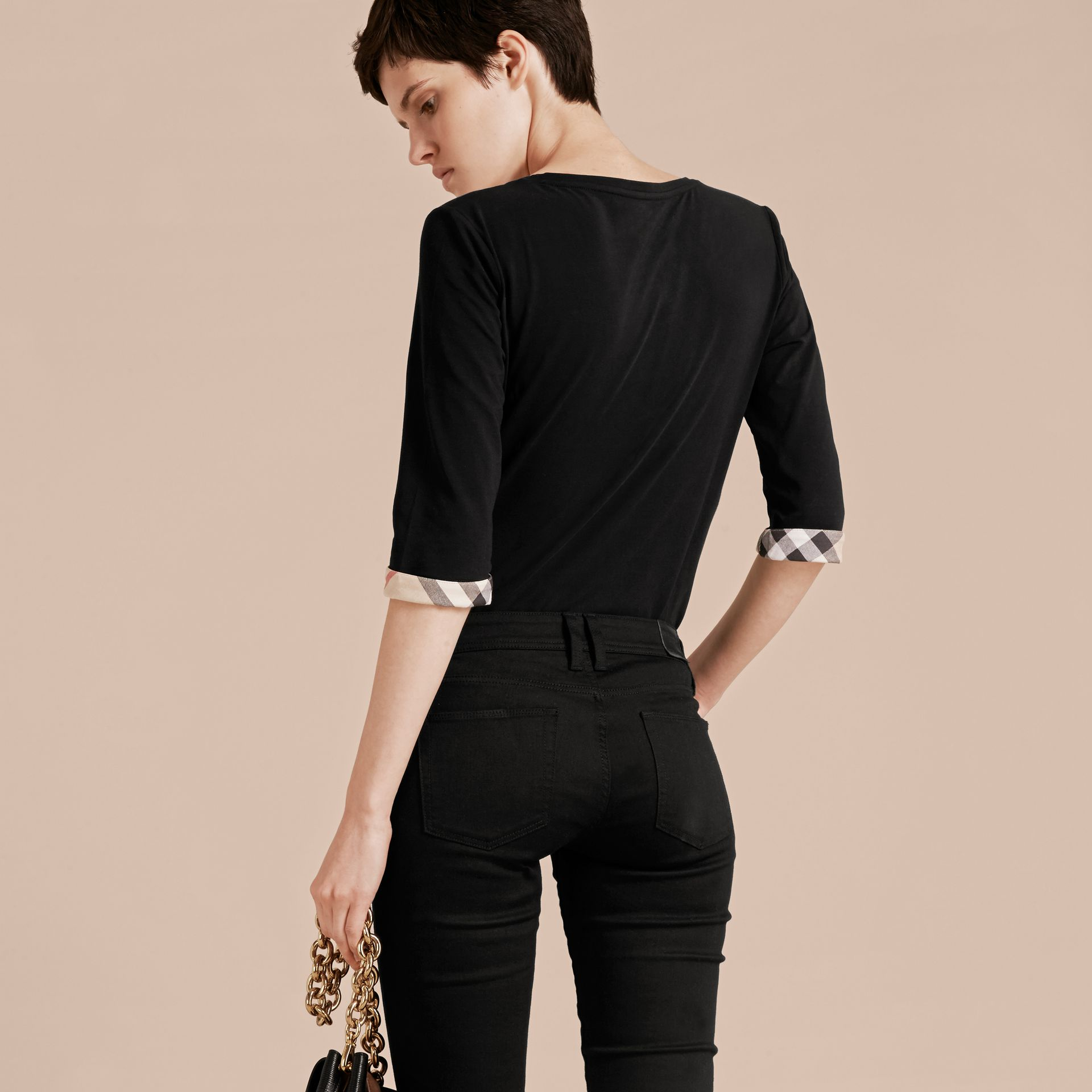 Check Cuff Stretch-Cotton Top in Black - Women | Burberry - gallery image 3