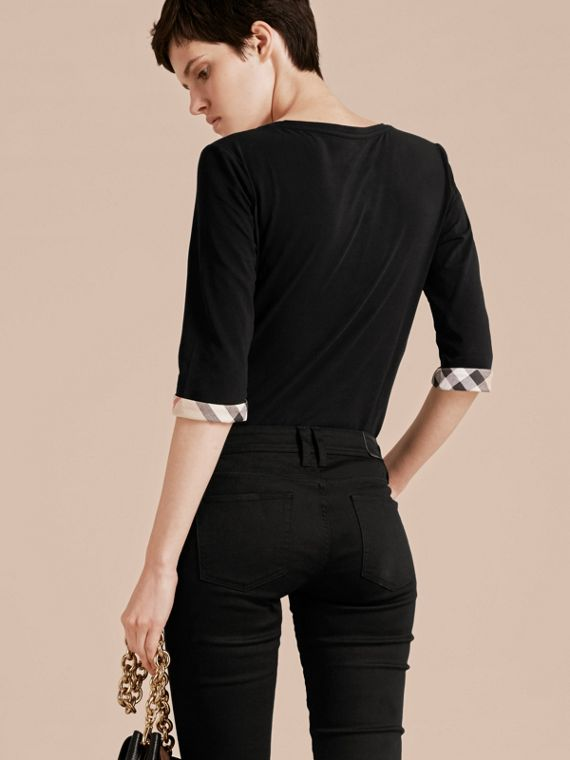 Check Cuff Stretch-Cotton Top in Black - cell image 2