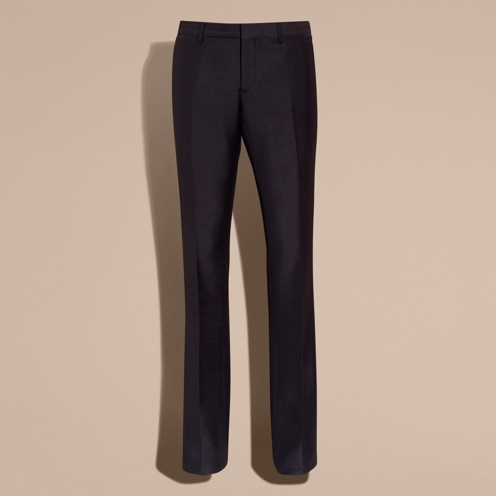 Navy Wide Leg Mohair Wool Tailored Trousers - gallery image 4
