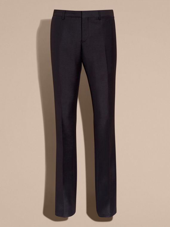 Navy Wide Leg Mohair Wool Tailored Trousers - cell image 3