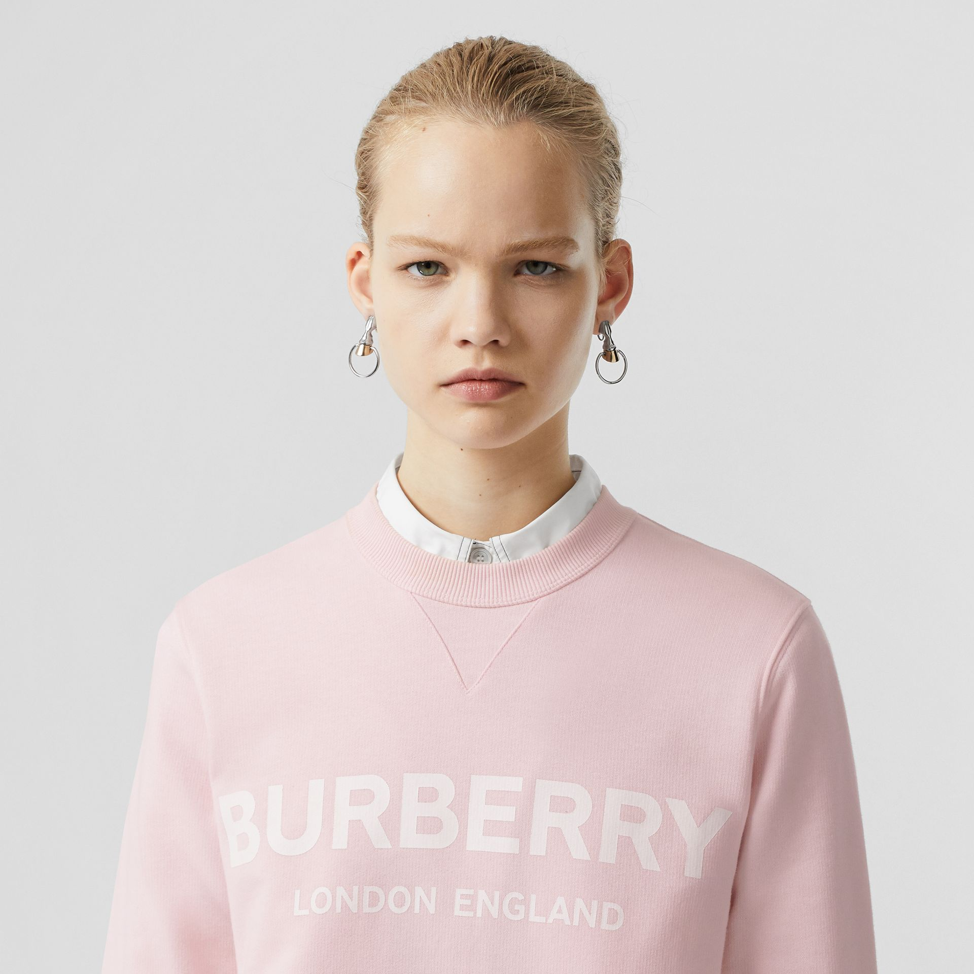 Logo Print Cotton Sweatshirt in Alabaster Pink - Women | Burberry - gallery image 1