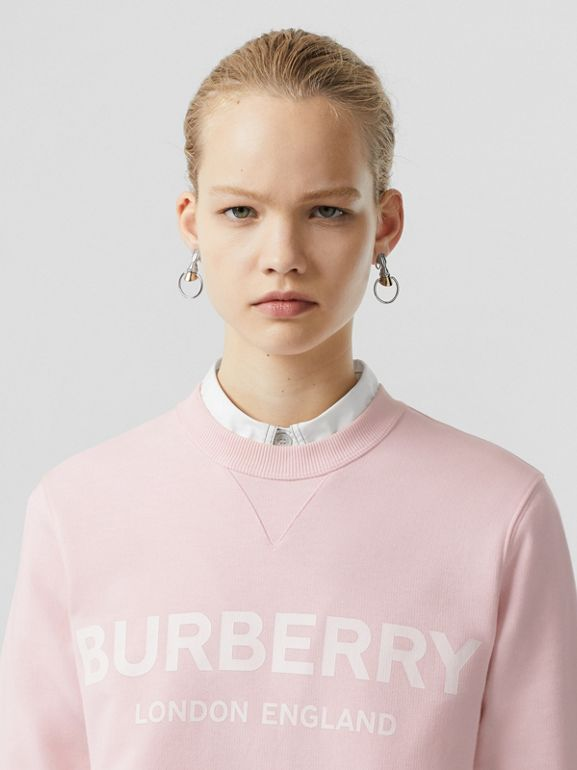 Logo Print Cotton Sweatshirt in Alabaster Pink - Women | Burberry United Kingdom - cell image 1