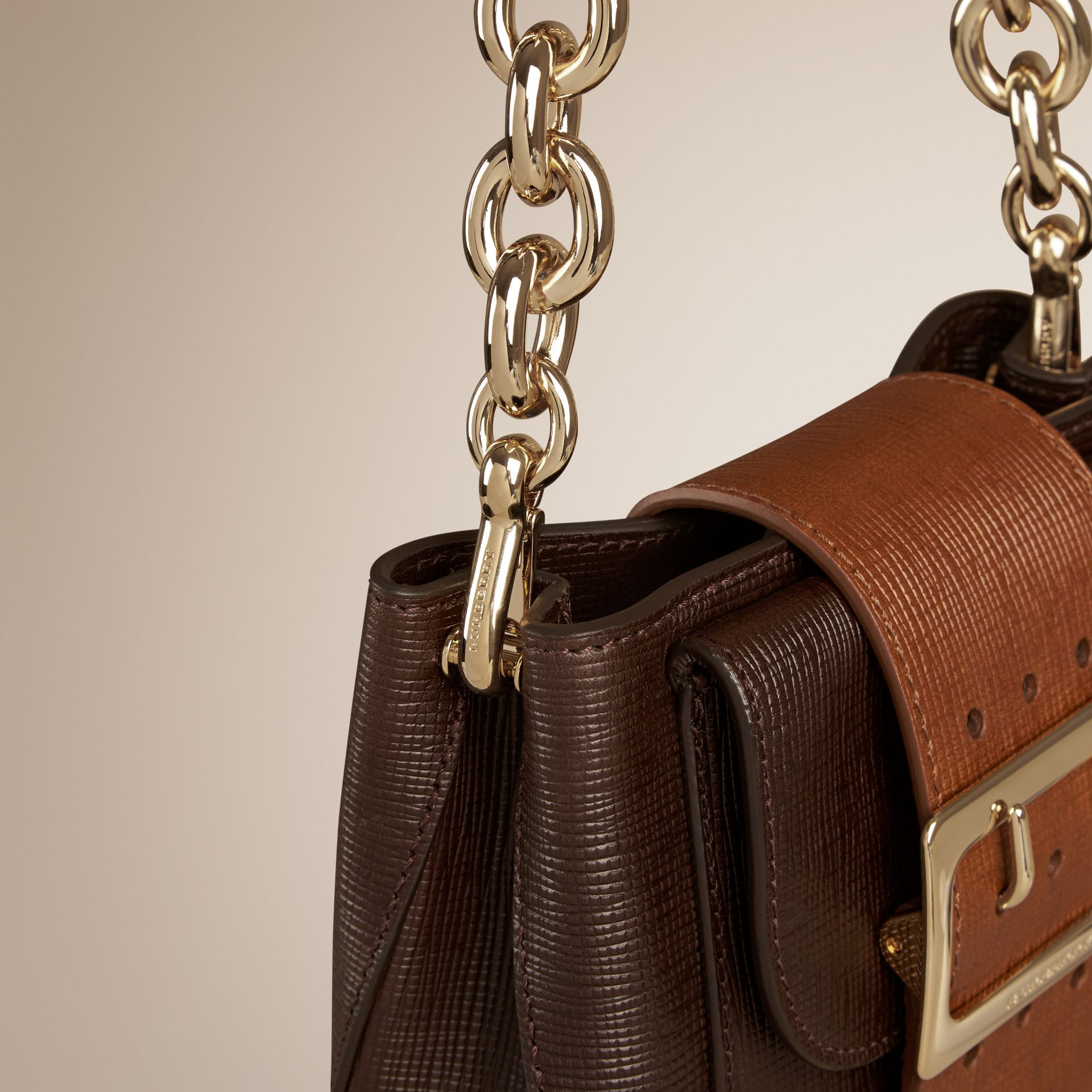 Dark clove brown The Small Square Buckle Bag in Textured Leather - gallery image 6