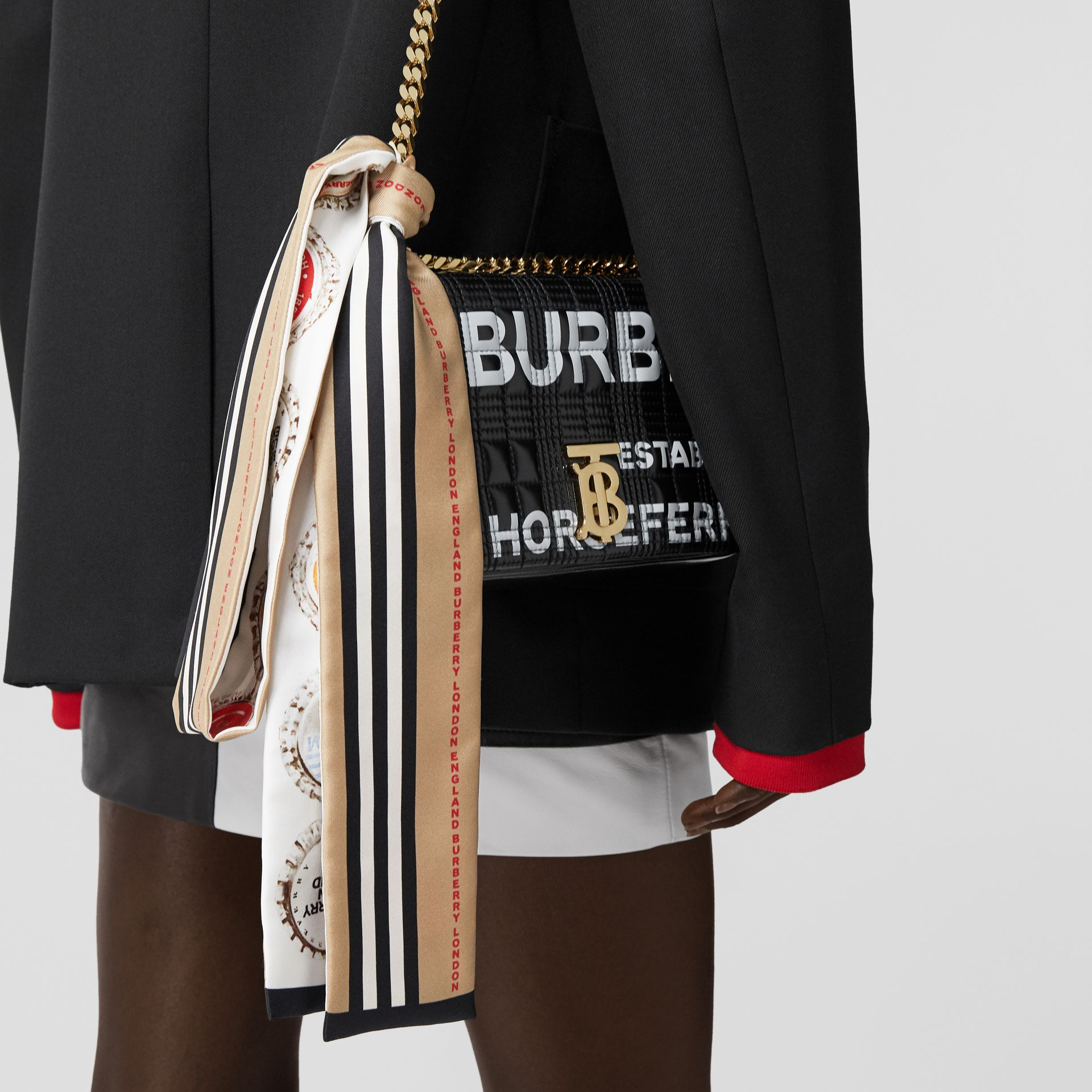 Bottle Cap and Icon Stripe Print Silk Skinny Scarf in White   Burberry United States - gallery image 7