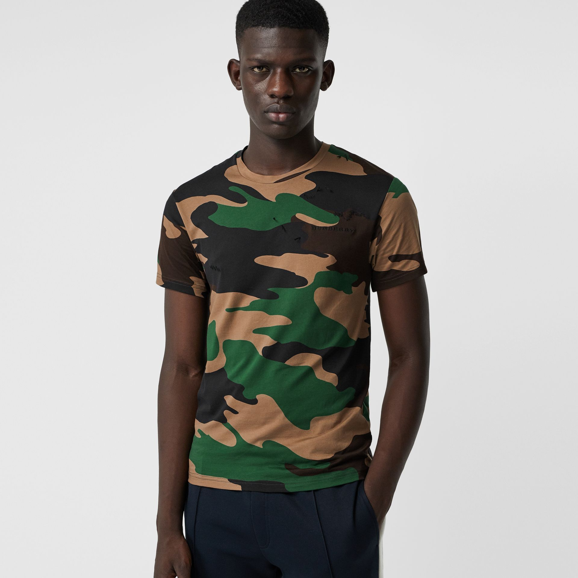 Camouflage Print Cotton T-shirt in Forest Green - Men | Burberry - gallery image 4