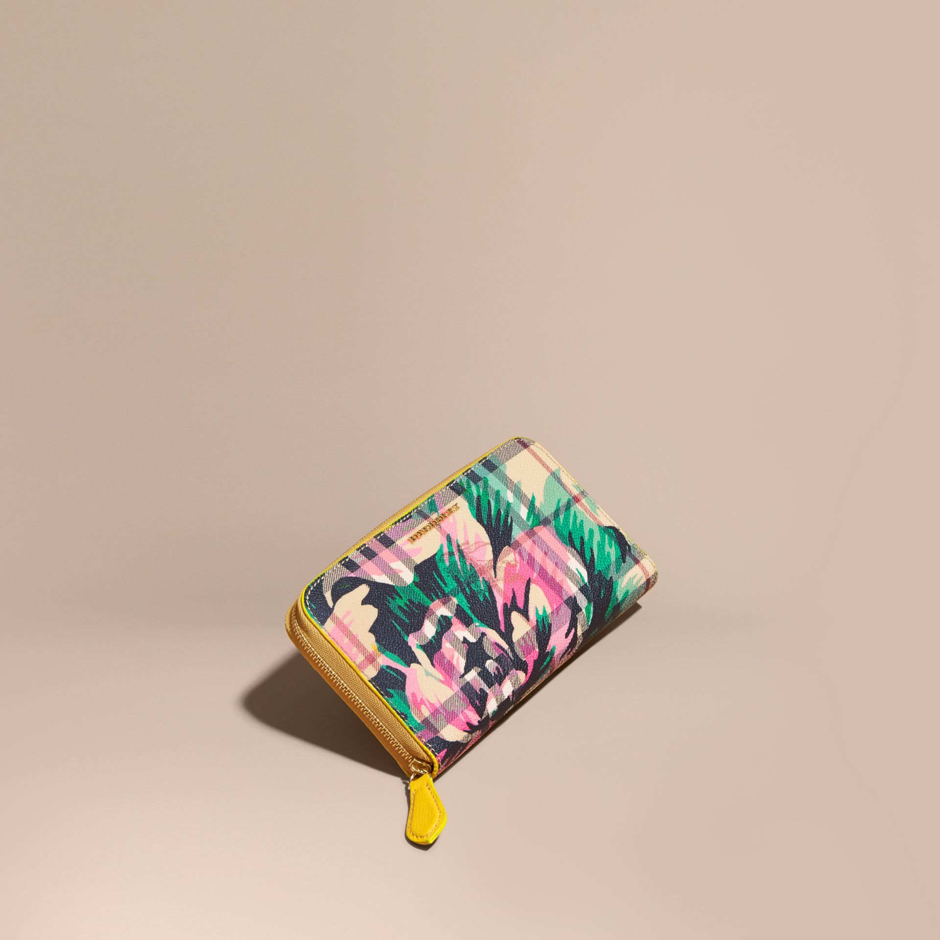 Larch yellow/emerald green Peony Rose Print Haymarket Check and Leather Ziparound Wallet - gallery image 1