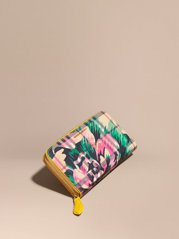 Peony Rose Print Haymarket Check and Leather Ziparound Wallet Larch Yellow/emerald Green