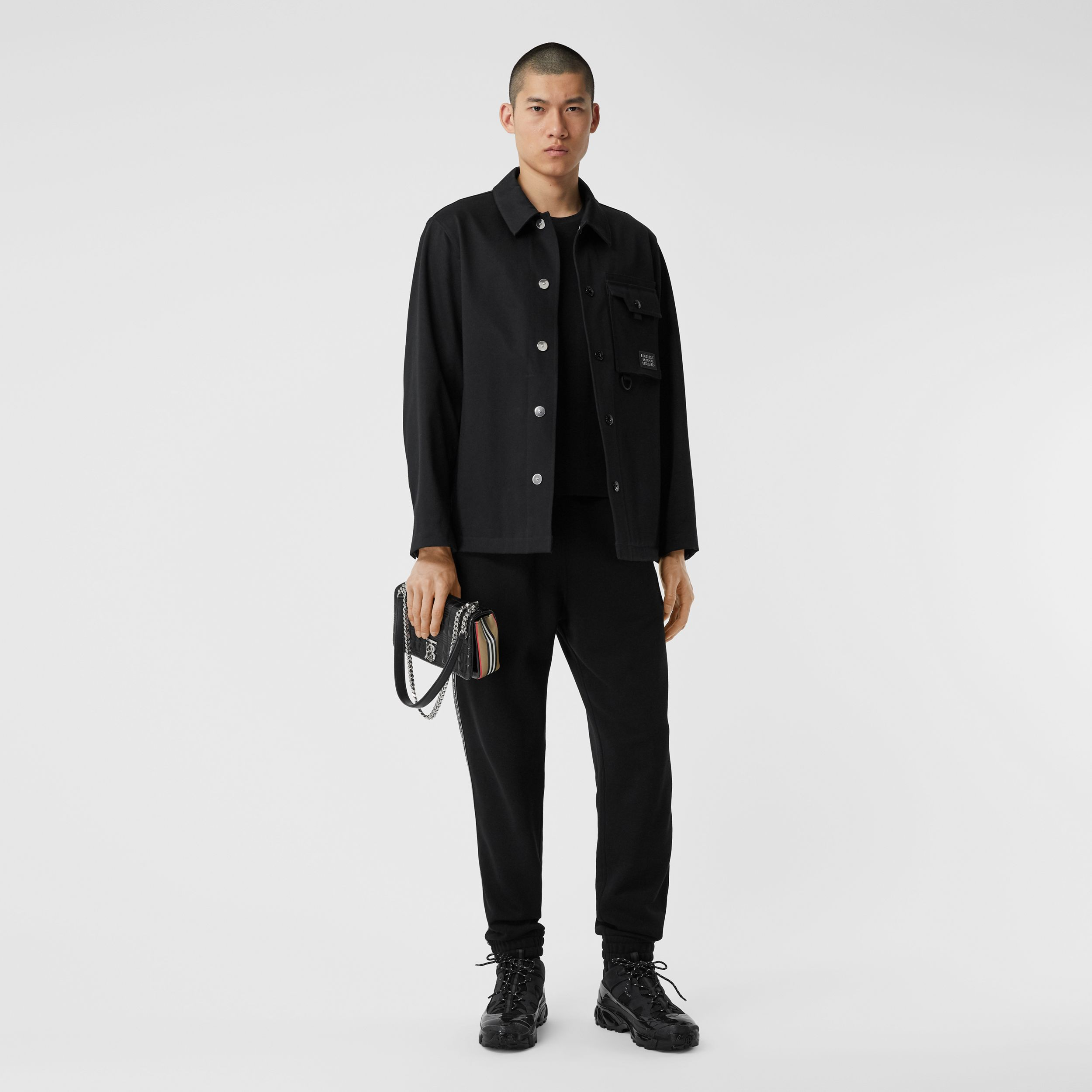 Logo Appliqué Bonded Cotton Sateen Jacket in Black - Men | Burberry - 1