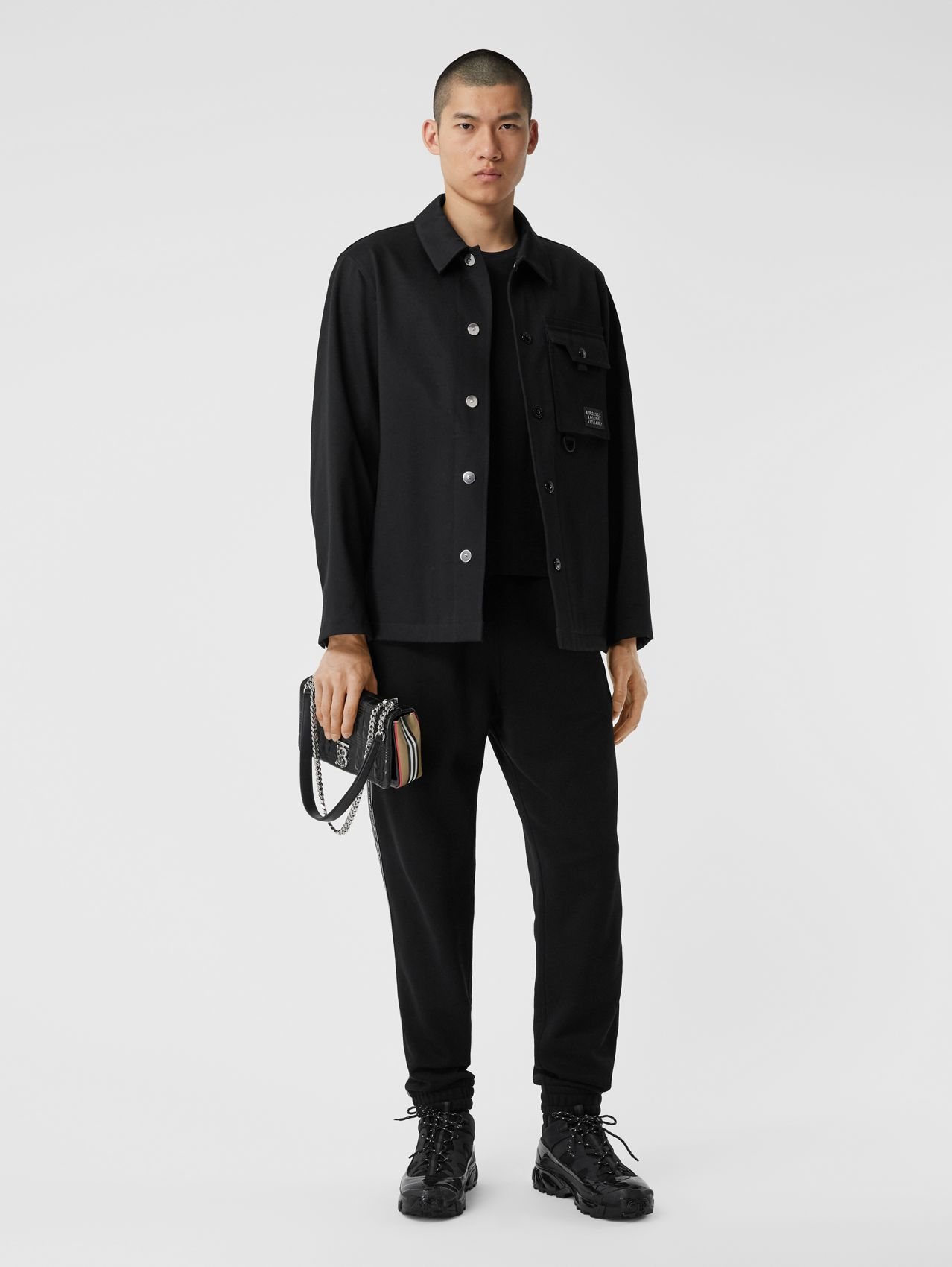 Logo Appliqué Bonded Cotton Sateen Jacket in Black