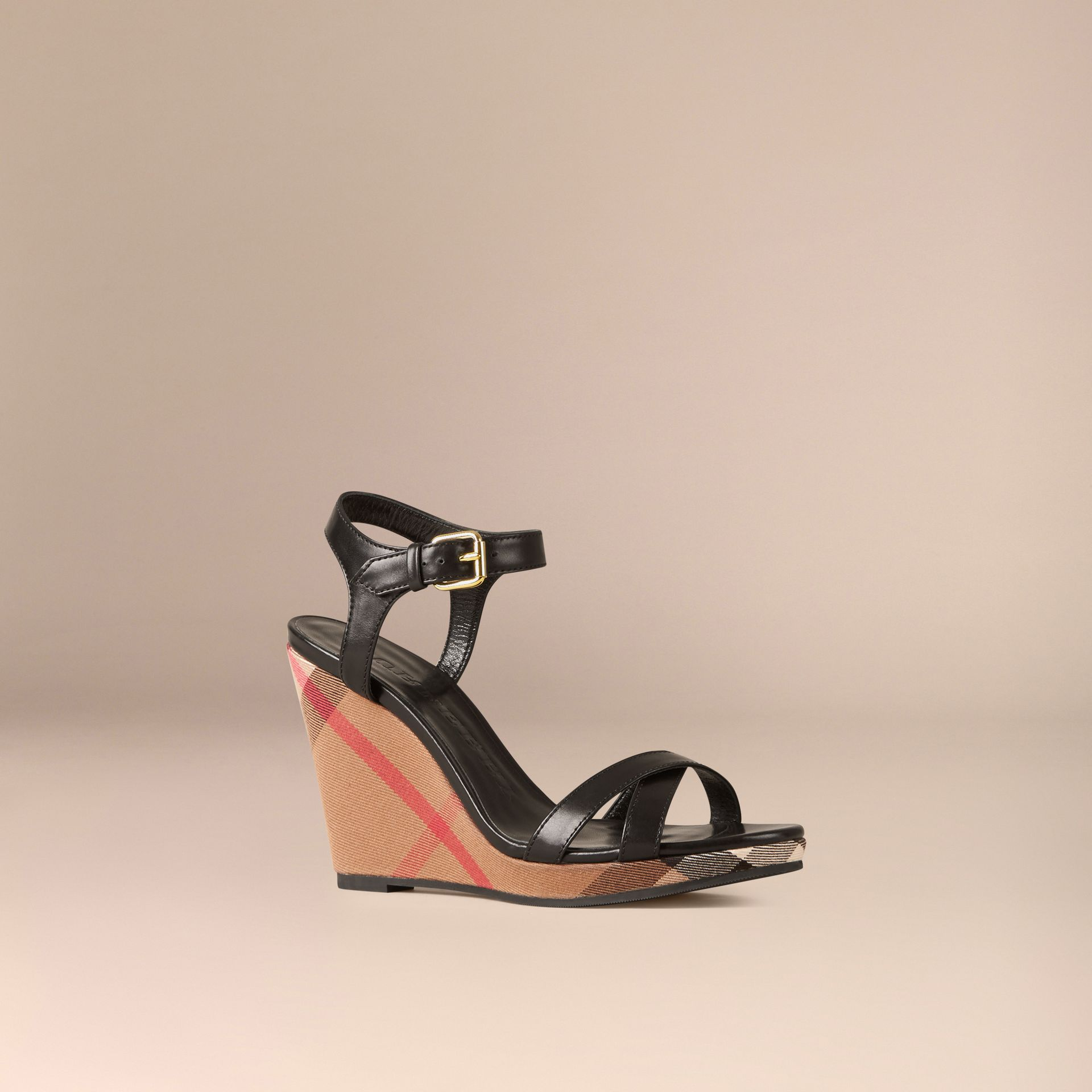 House Check and Leather Wedge Sandals in Black - Women | Burberry - gallery image 1