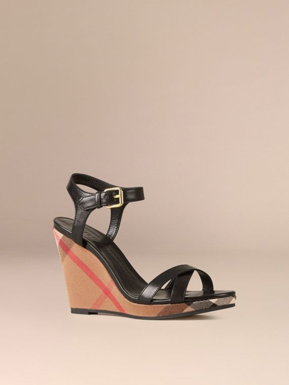 House Check and Leather Wedge Sandals in Black