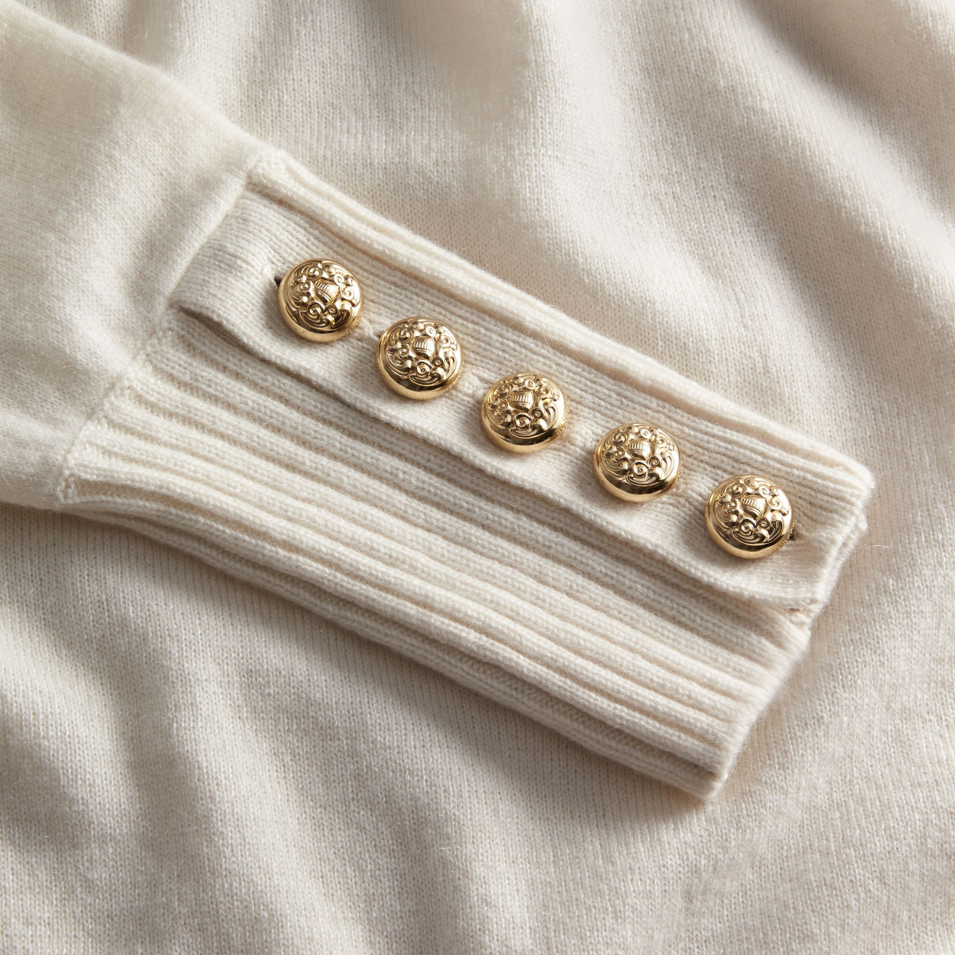 Cashmere Sweater with Crested Buttons Natural White - gallery image 2