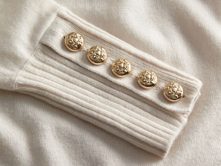 Cashmere Sweater with Crested Buttons Natural White - cell image 1