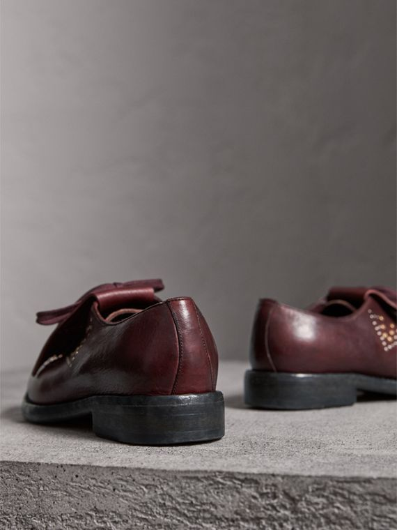 Lace-up Kiltie Fringe Riveted Leather Loafers in Cerise Purple - Women | Burberry - cell image 2