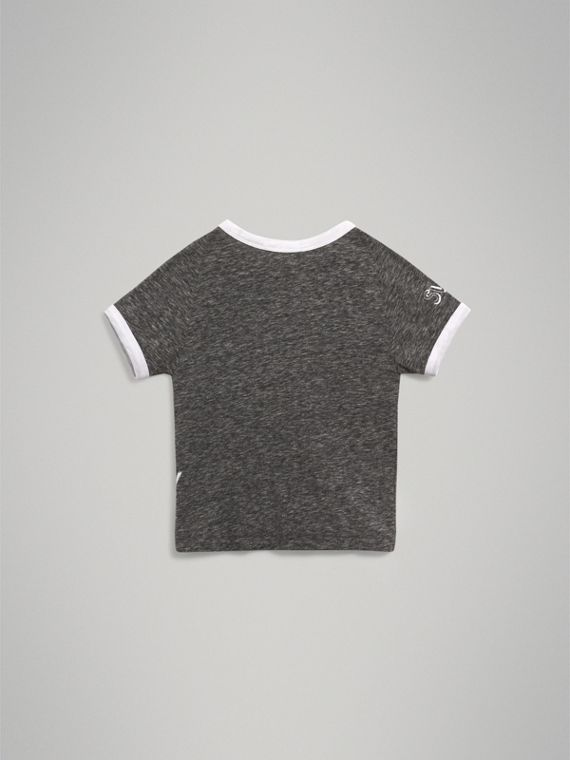 Raglan-sleeve Adventure Motif Cotton Blend T-shirt in Dark Grey Melange - Boy | Burberry - cell image 3