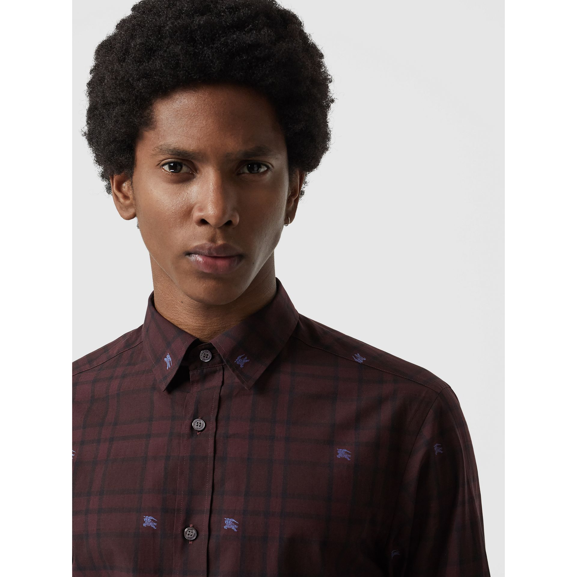 Equestrian Knight Check Cotton Shirt in Dark Elderberry - Men | Burberry United States - gallery image 1