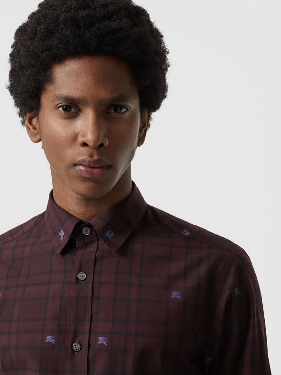 Equestrian Knight Check Cotton Shirt in Dark Elderberry - Men | Burberry United States - cell image 1