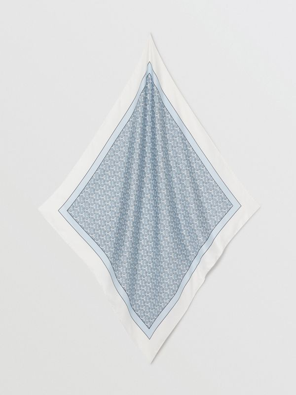 Monogram Print Silk Square Scarf in Pale Blue | Burberry - cell image 2
