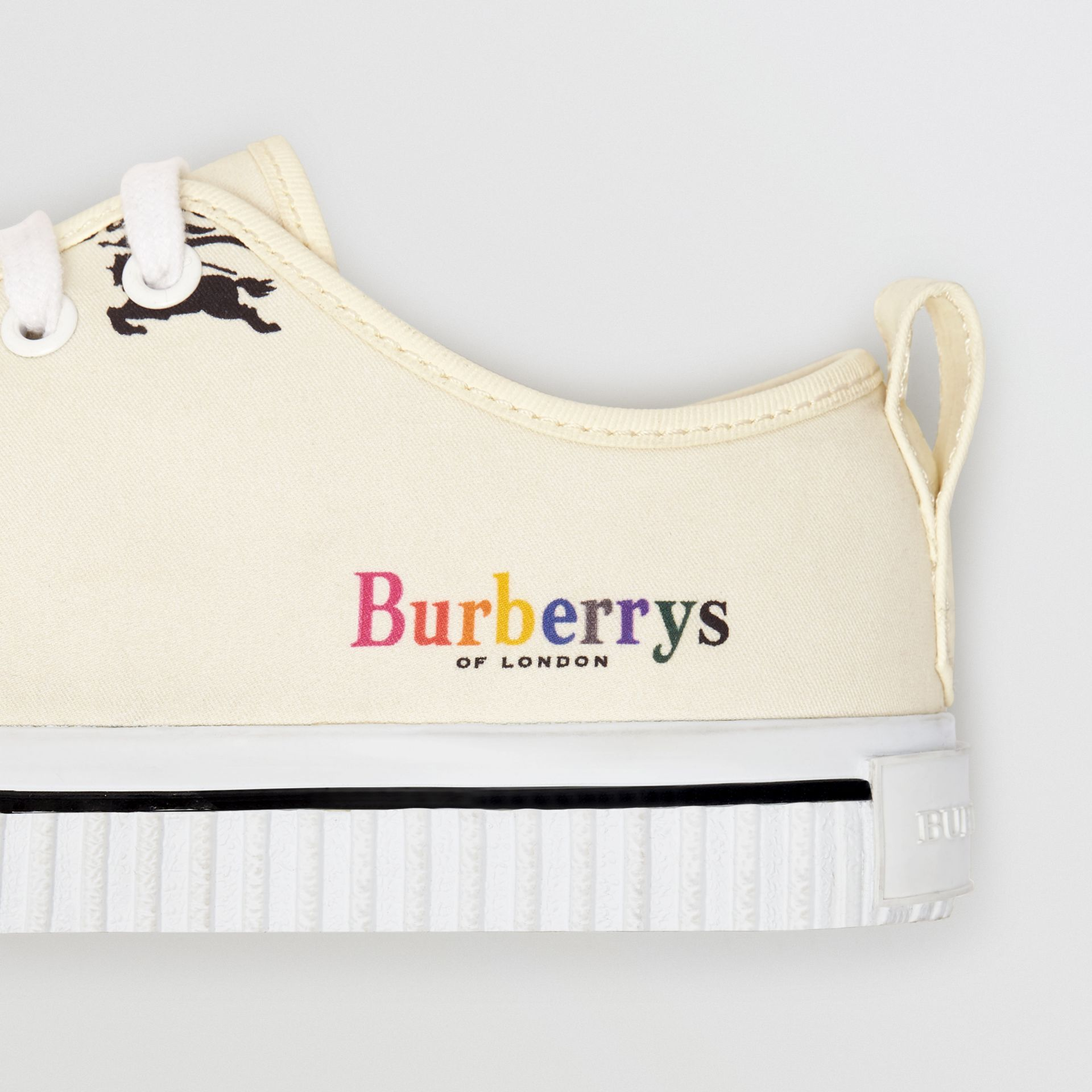 Archive Logo Cotton Sneakers in Off White - Women | Burberry United States - gallery image 1
