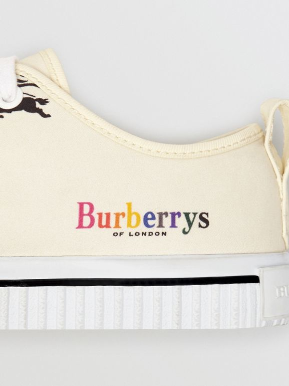 Archive Logo Cotton Sneakers in Off White - Women | Burberry - cell image 1