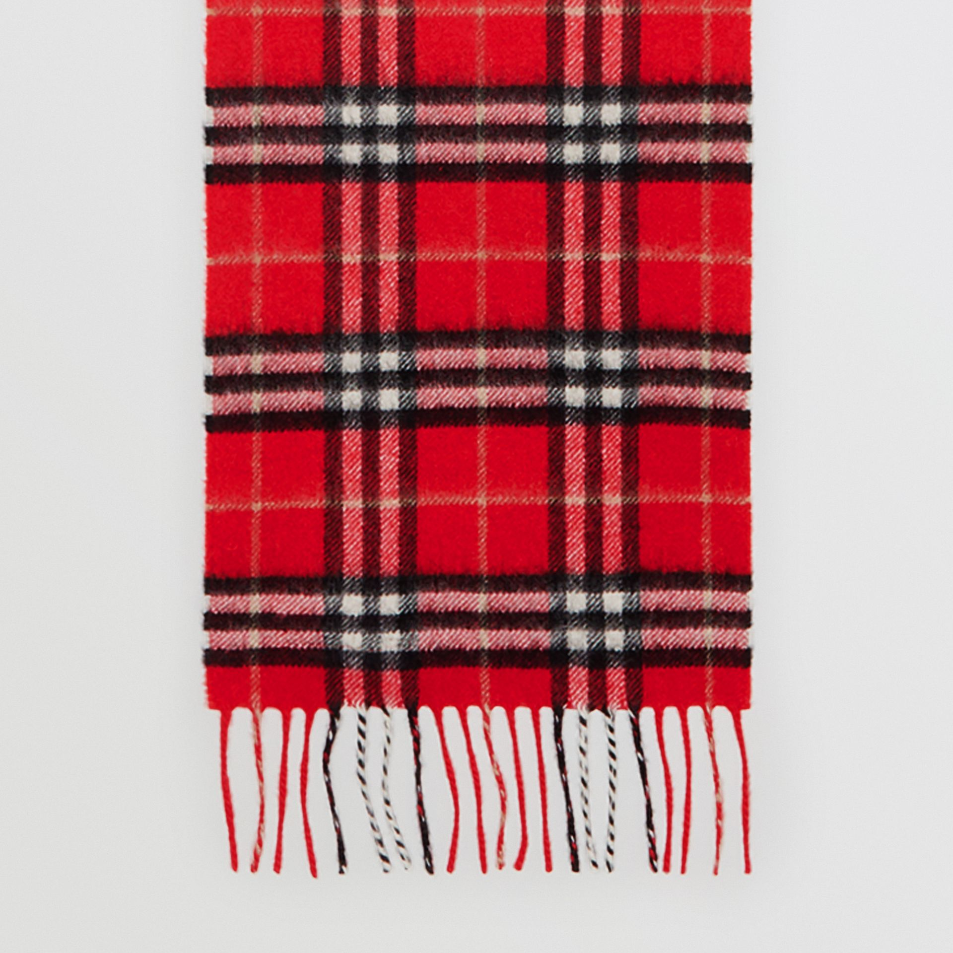 The Mini Classic Vintage Check Cashmere Scarf in Bright Red - Children | Burberry - gallery image 2