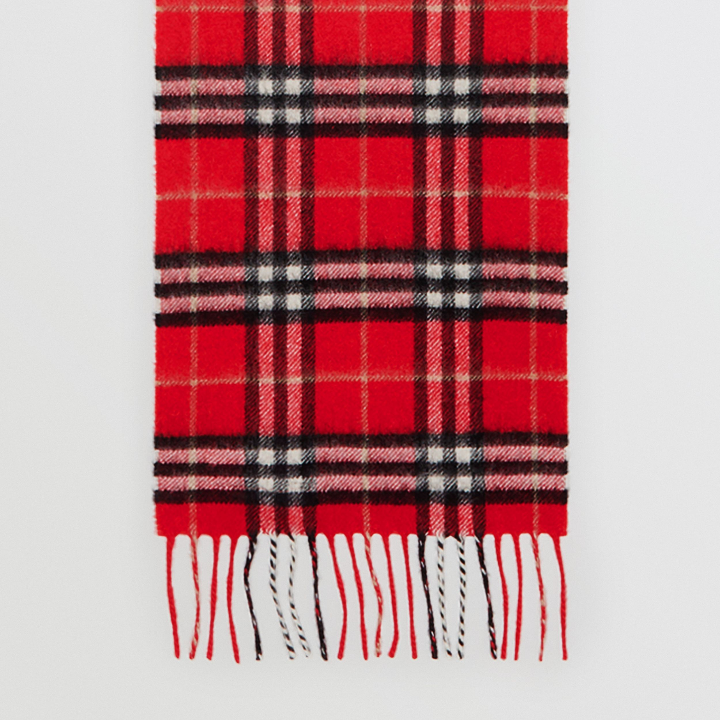 The Mini Classic Vintage Check Cashmere Scarf in Bright Red - Children | Burberry - 3