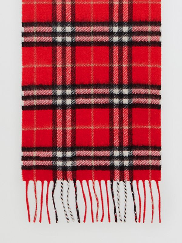 The Mini Classic Vintage Check Cashmere Scarf in Bright Red - Children | Burberry - cell image 2