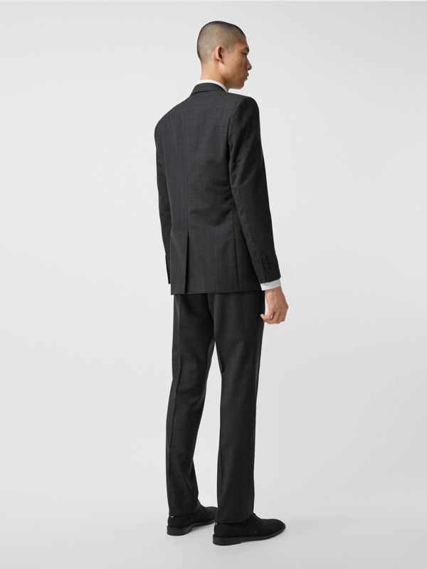 Classic Fit Check Wool Three-piece Suit in Charcoal Melange - Men | Burberry - cell image 2