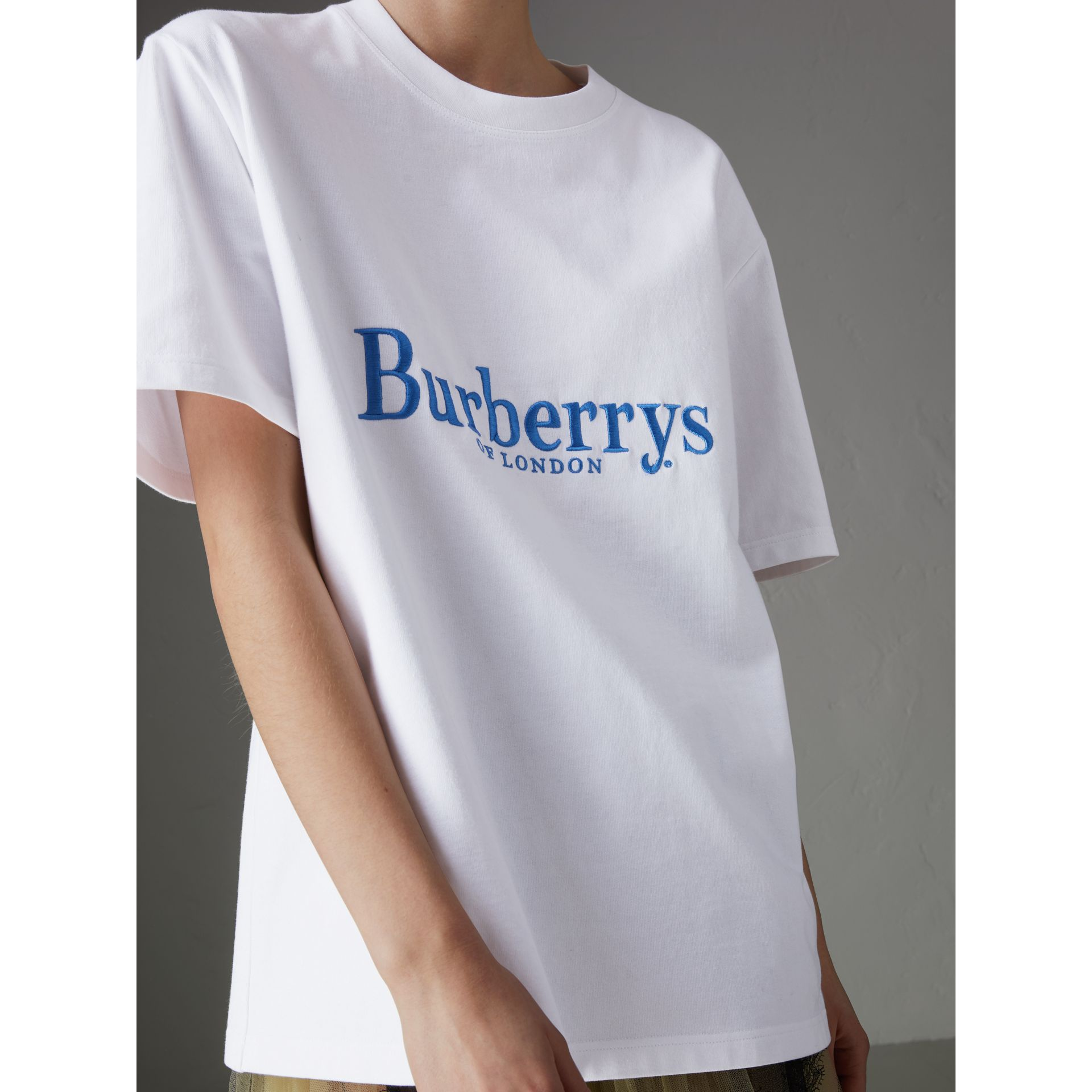 Reissued Cotton T-shirt in White - Women | Burberry - gallery image 1