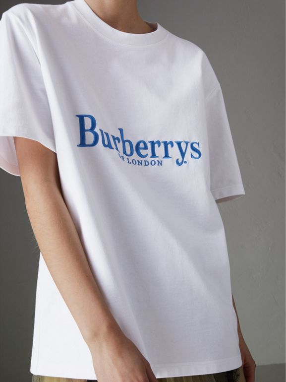 Reissued Cotton T-shirt in White - Women | Burberry Australia - cell image 1