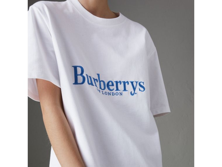 Reissued Cotton T-shirt in White - Women | Burberry - cell image 1