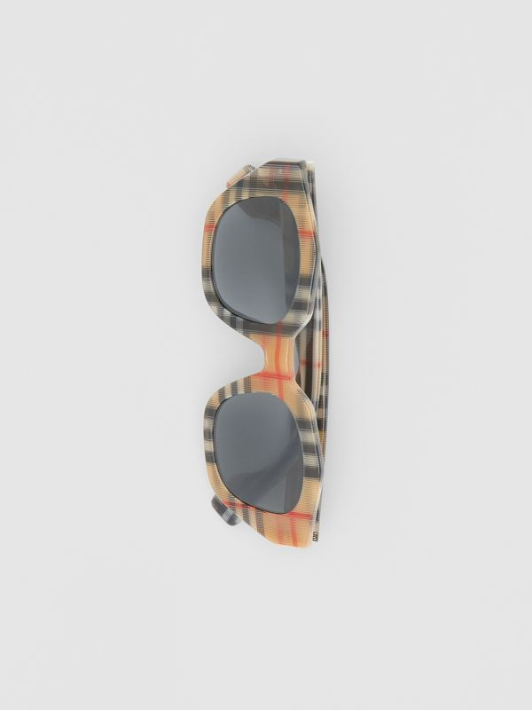 Vintage Check Geometric Frame Sunglasses in Antique Yellow - Women | Burberry Hong Kong - cell image 3