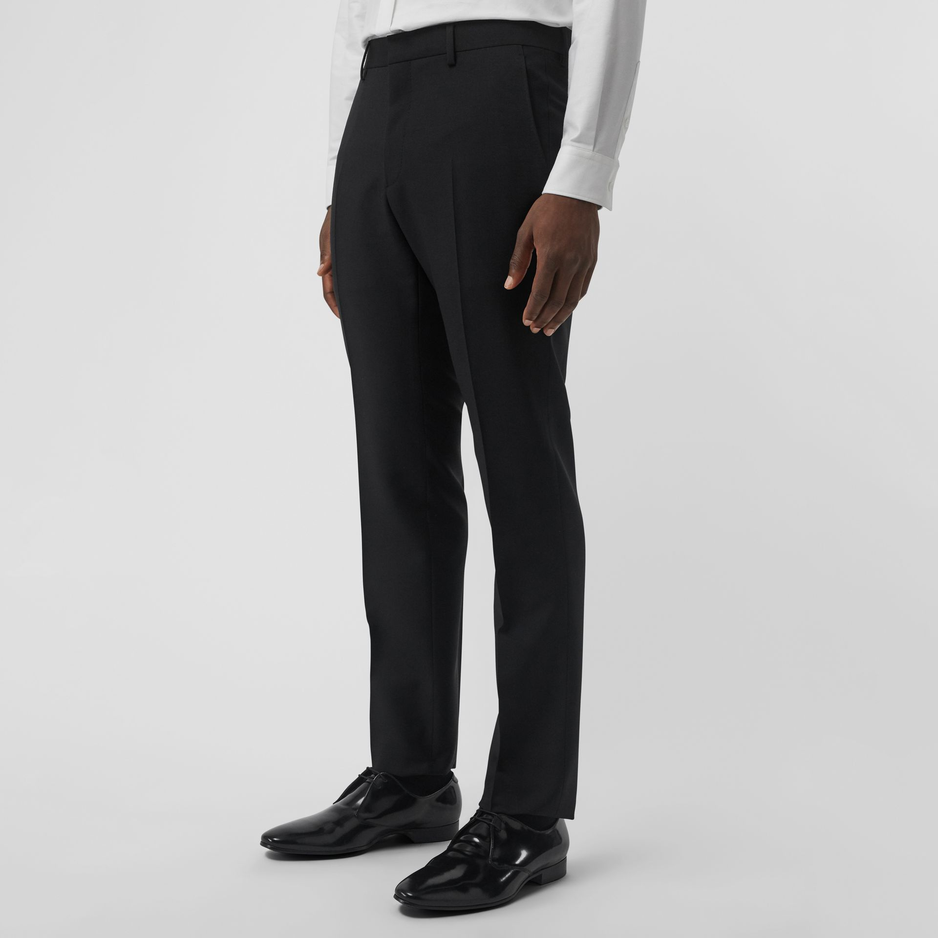 Wool Mohair Tailored Trousers in Black - Men | Burberry - gallery image 4