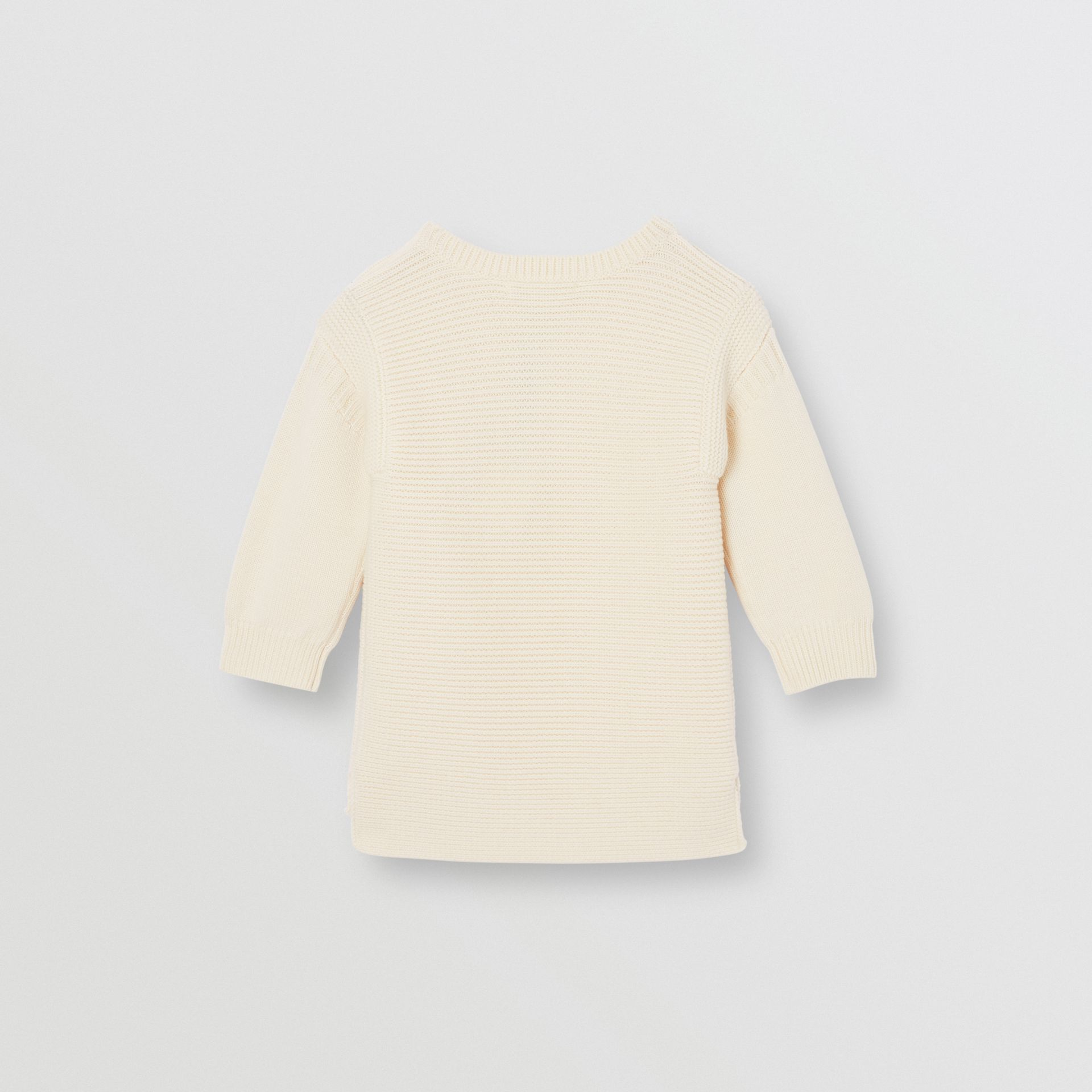 Logo Print Rib Knit Merino Wool Sweater Dress in Ivory - Children | Burberry United Kingdom - gallery image 3