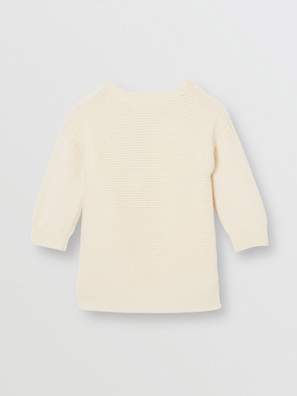 Logo Print Rib Knit Merino Wool Sweater Dress in Ivory - Children | Burberry - cell image 3