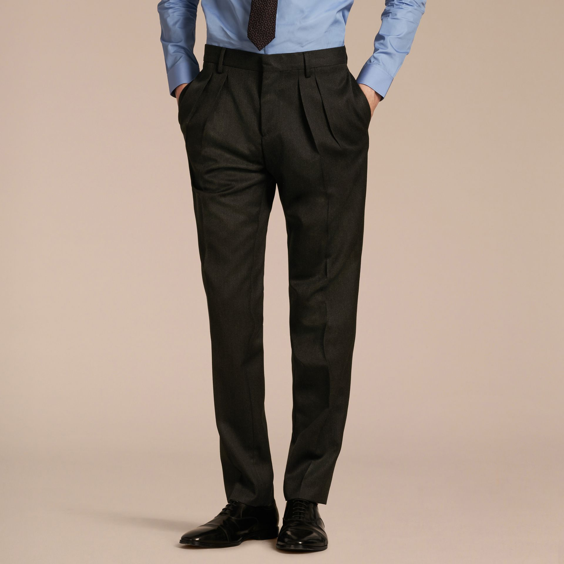 Modern Fit English Wool Tailored Trousers Dark Grey Melange - gallery image 6