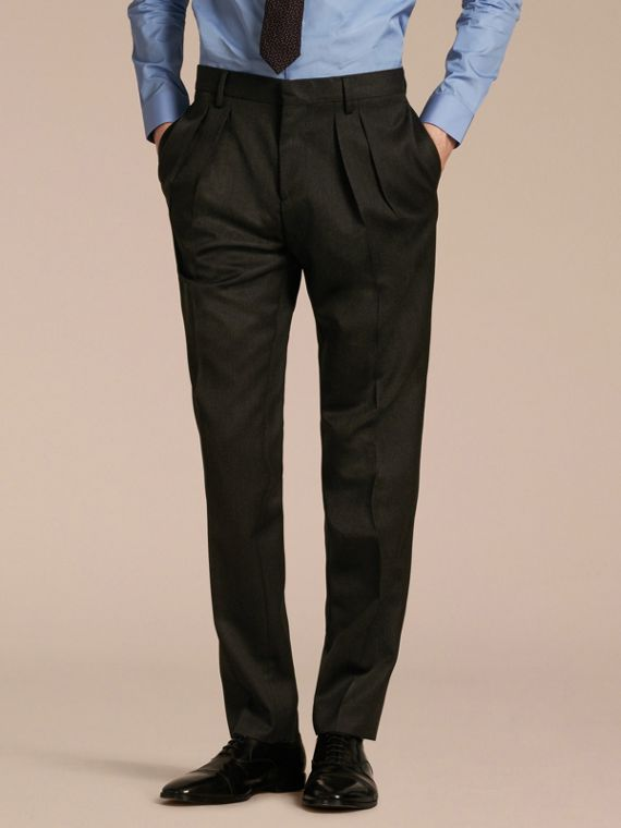 Modern Fit English Wool Tailored Trousers Dark Grey Melange