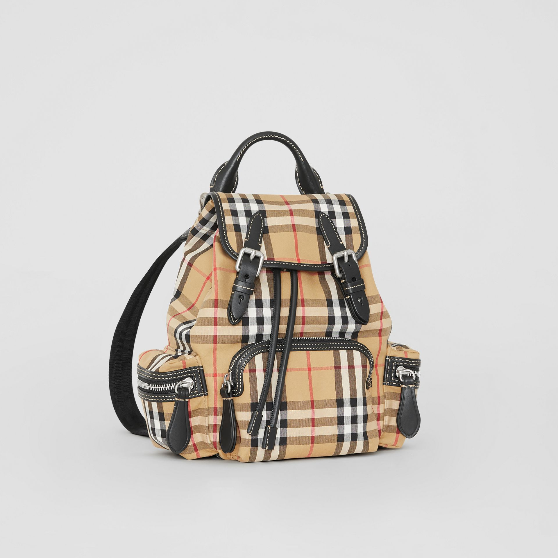 The Small Rucksack in Vintage Check and Leather in Antique Yellow - Women | Burberry Singapore - gallery image 7