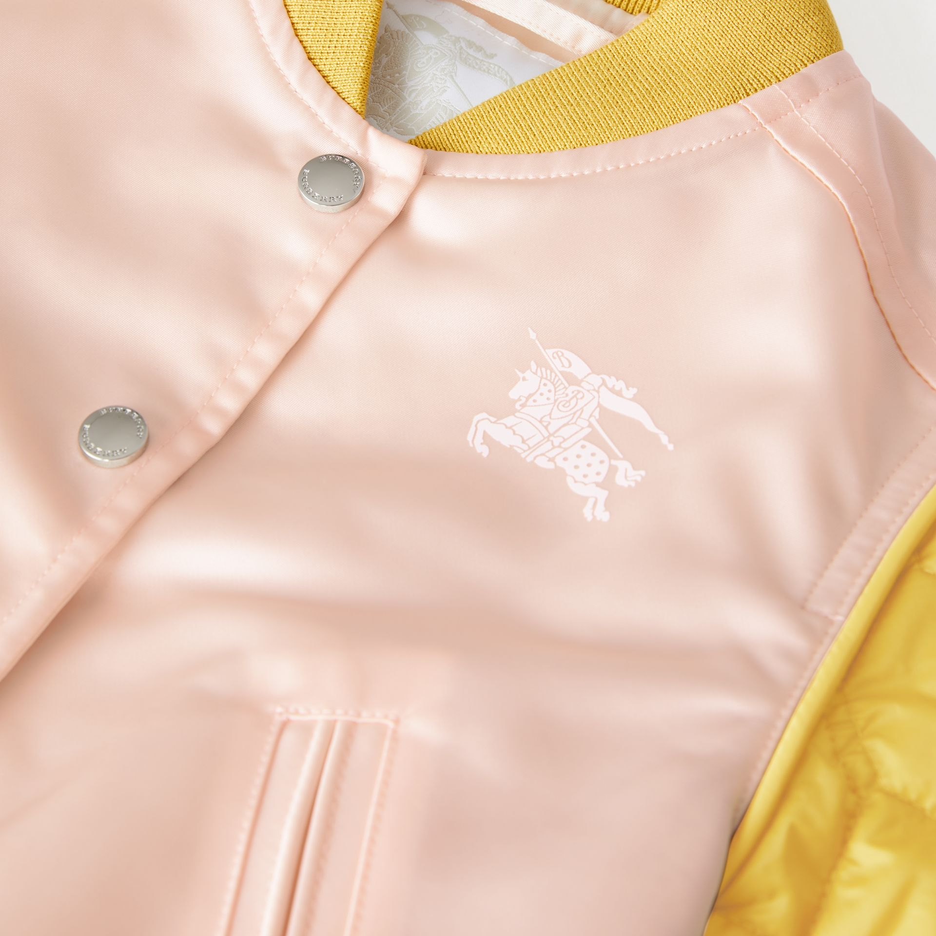 Contrast-sleeve Nylon Bomber Jacket in Pale Pink | Burberry - gallery image 1