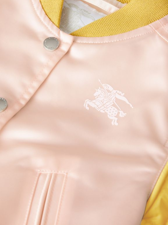 Contrast-sleeve Nylon Bomber Jacket in Pale Pink - Children | Burberry - cell image 1
