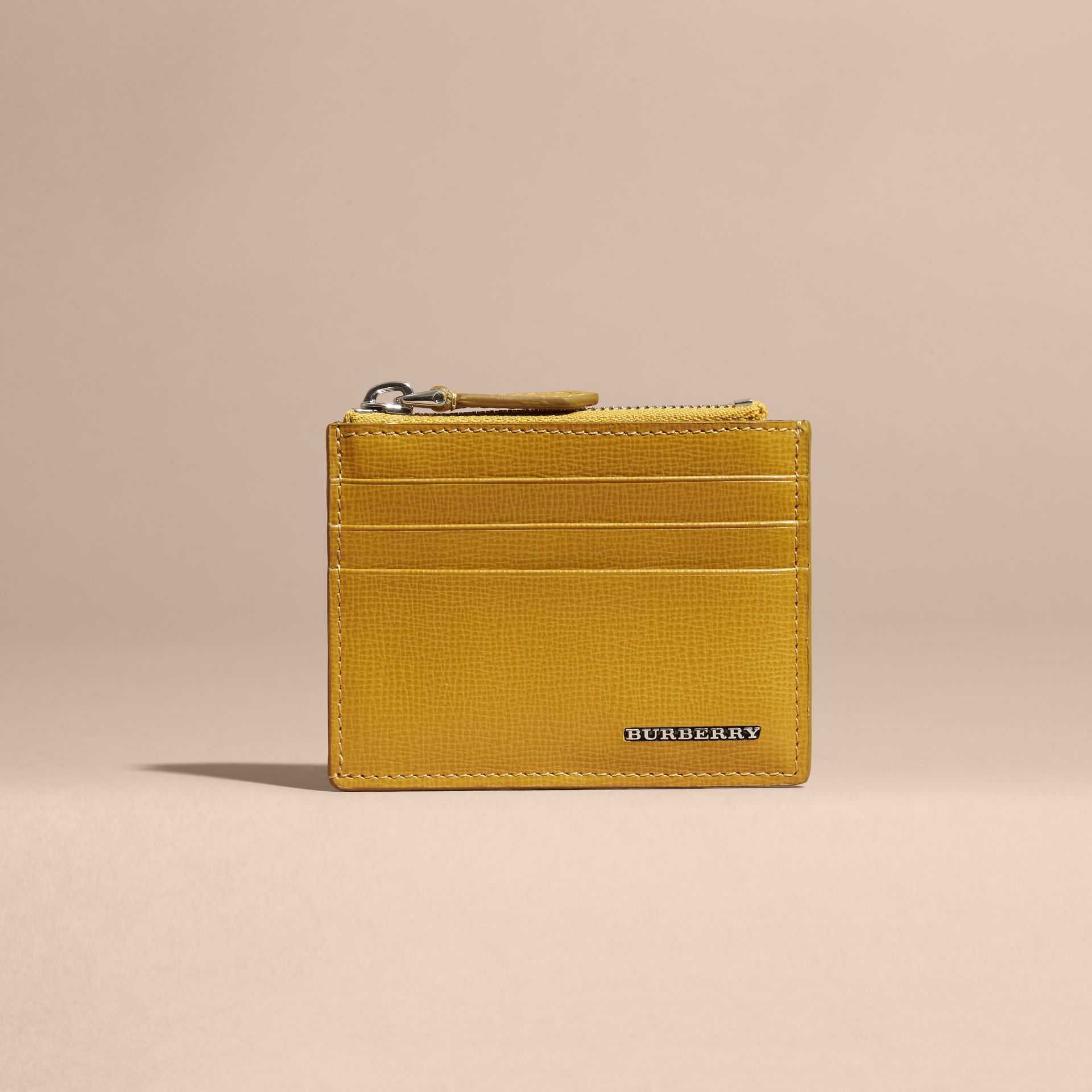 London Leather Zip-top Card Case Larch Yellow - gallery image 6