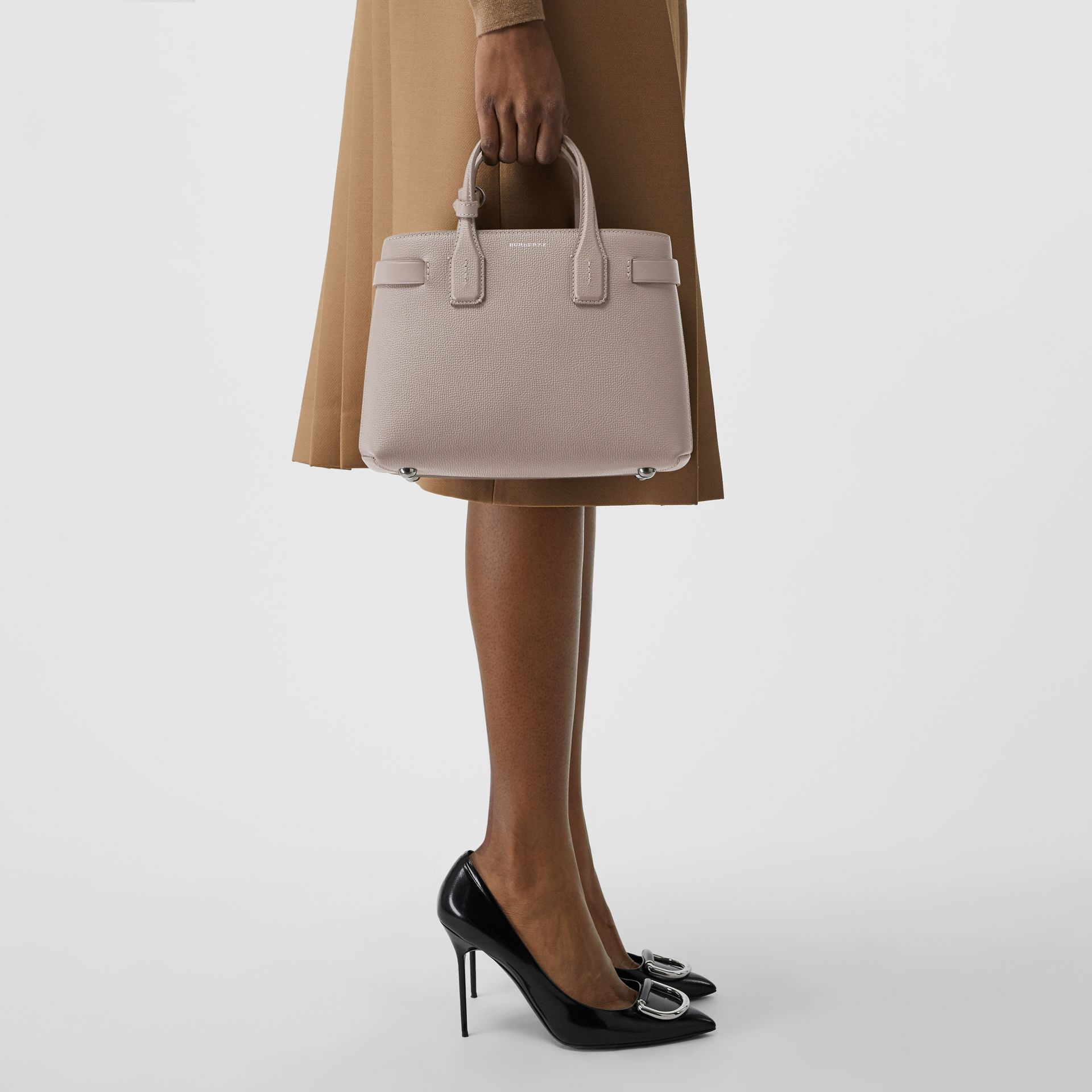 The Small Banner in Leather and Vintage Check in Taupe Brown - Women | Burberry - gallery image 3