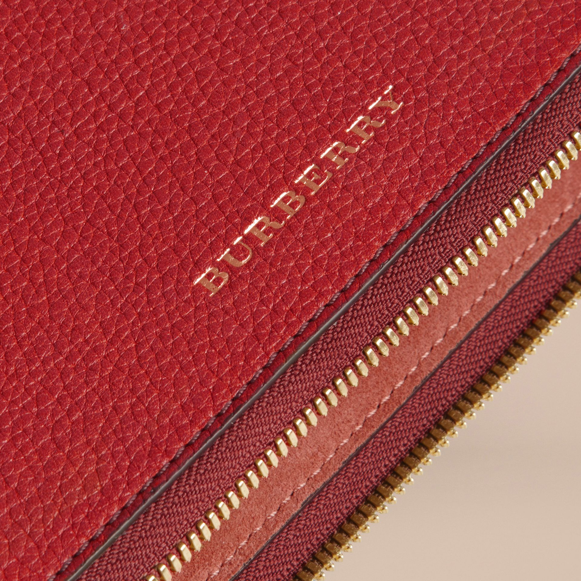 Grainy Leather Tie Case in Parade Red - Men | Burberry Canada - gallery image 2
