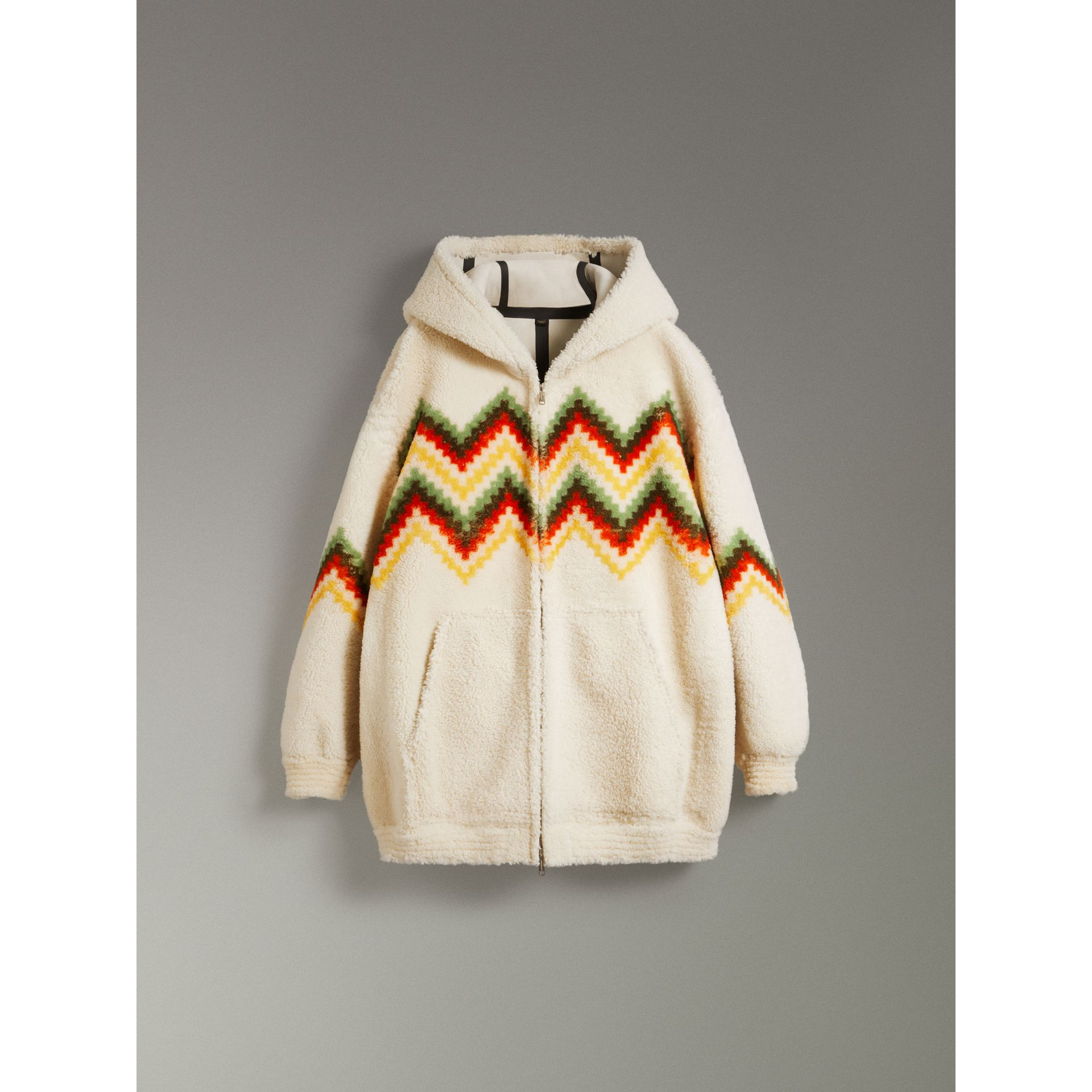 Chevron Intarsia Shearling Hoodie in Off White | Burberry - gallery image 3