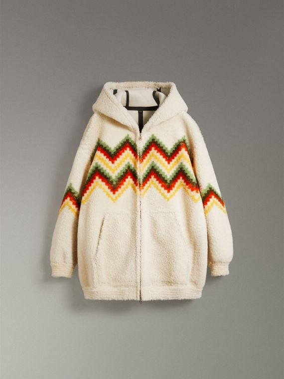 Chevron Intarsia Shearling Hoodie in Off White | Burberry Canada - cell image 3