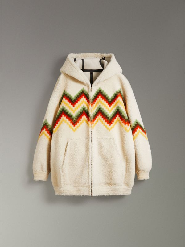 Chevron Intarsia Shearling Hoodie in Off White | Burberry - cell image 3