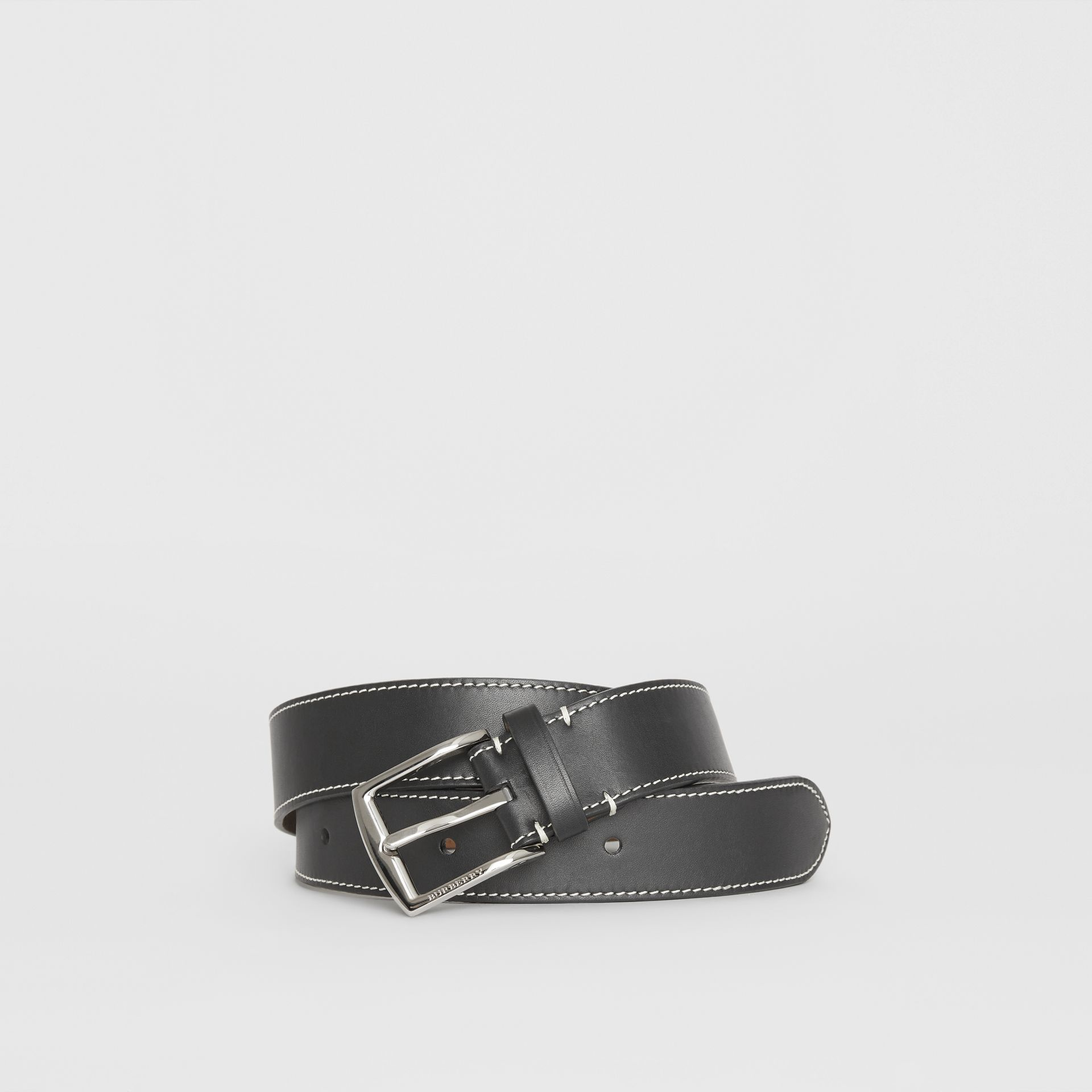 Topstitched Leather Belt in Black - Men | Burberry - gallery image 0